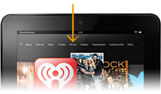 Music tab on Kindle Fire HD