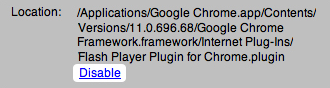 Chrome plugins disable flash