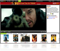 Shop section of the Unbox Video Player where you can watch previews and read video descriptions, then click to buy online