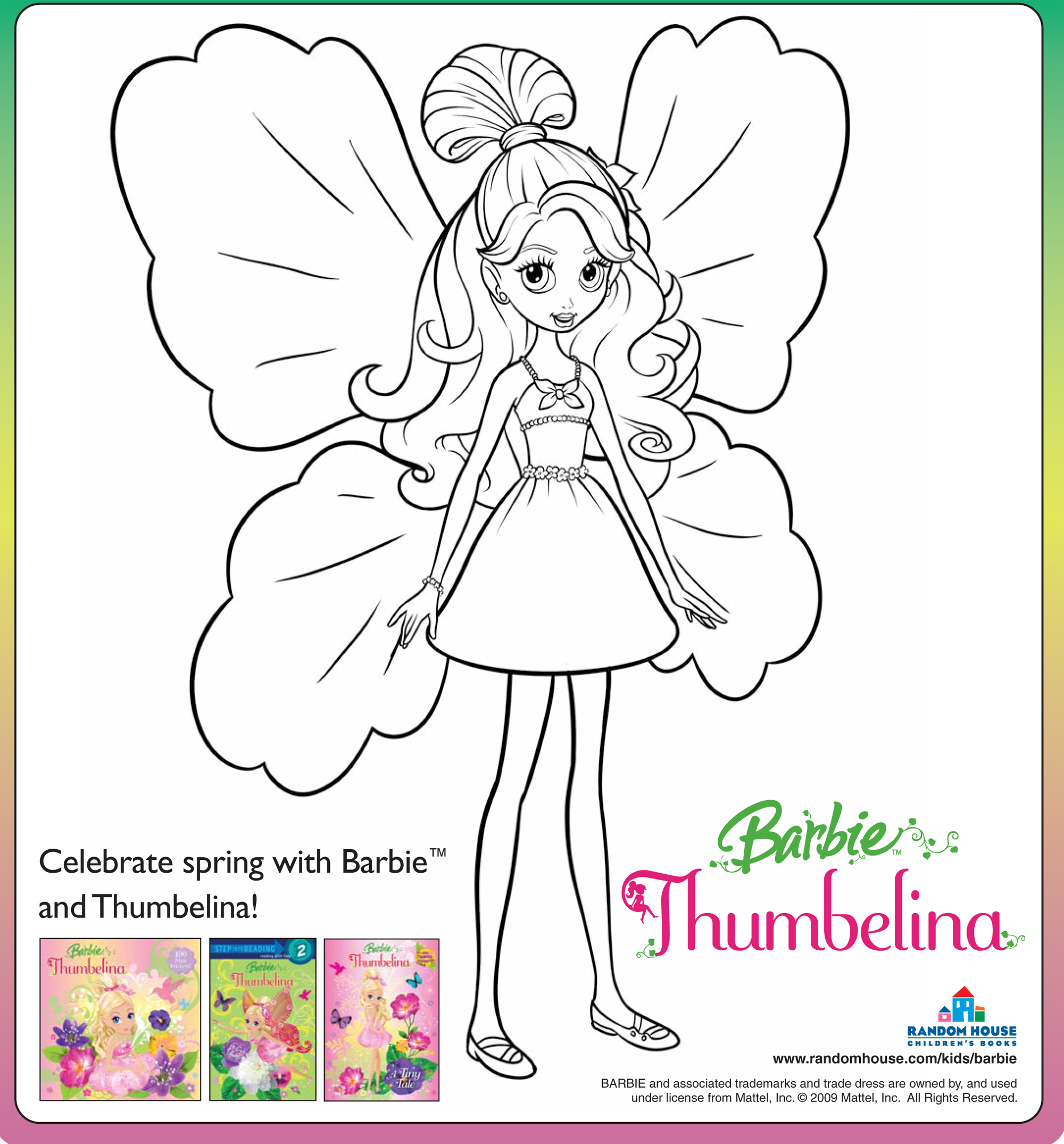 barbie thumbelina free coloring pages - photo#32