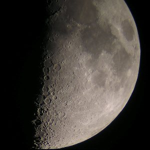First quarter Moon shot at 90X with Powershot camera.