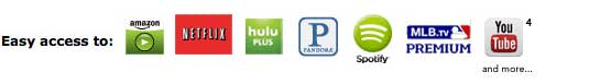 Netflix, HuluPlus, Amazon Instant Video, YouTube, Pandora, Rhapsody, Picasa