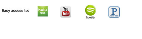 hulu, youtube, picasa, pandora, spotify