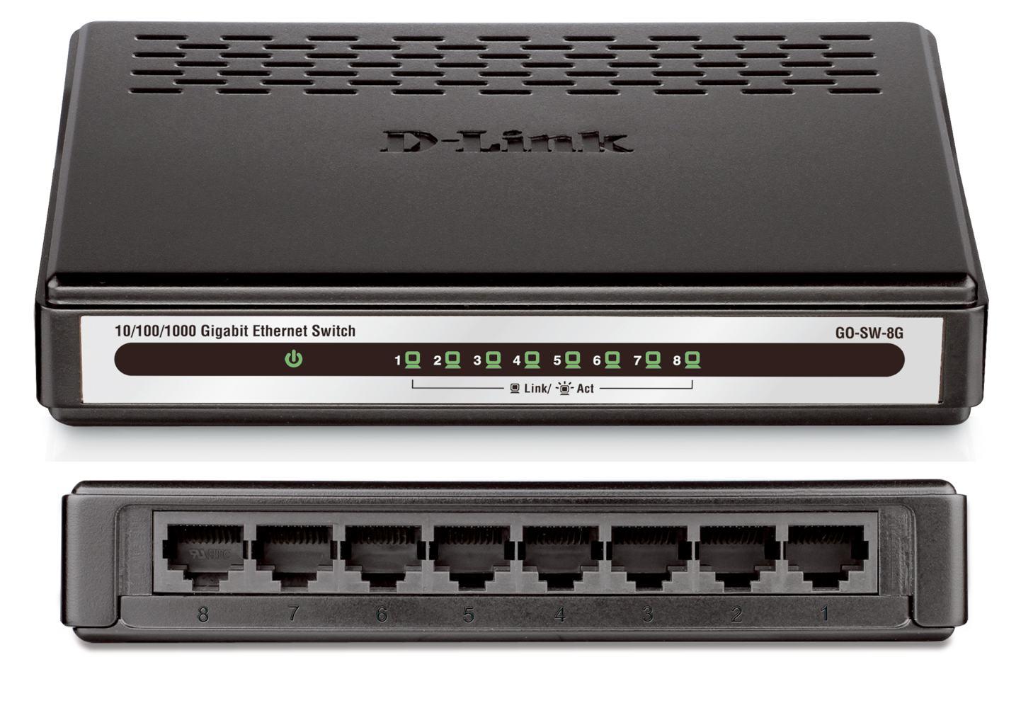 d link 8 port gigabit desktop switch go sw 8g. Black Bedroom Furniture Sets. Home Design Ideas