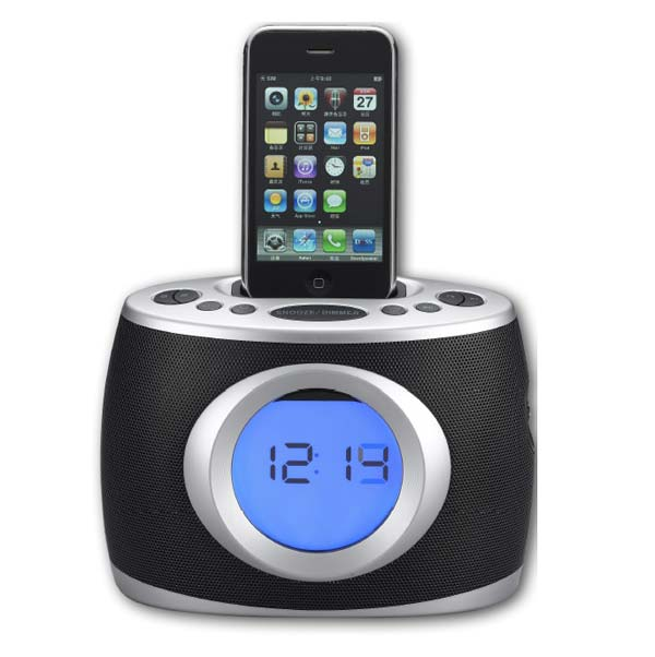 sylvania dock and clock radio pll dual alarm for ipod and iphone mp3 players. Black Bedroom Furniture Sets. Home Design Ideas