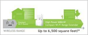 Amped High Power 600mW Compact Wi-Fi Range Extender Range