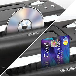 Destroys CDs, credit cards, staples and small paper clips