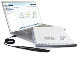 Echo smartpen connected to laptop - displaying the same written notes and diagram on screen as was drawn on the notebook.
