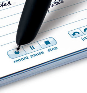 Echo smartpen tapping the Record button to start recording audio