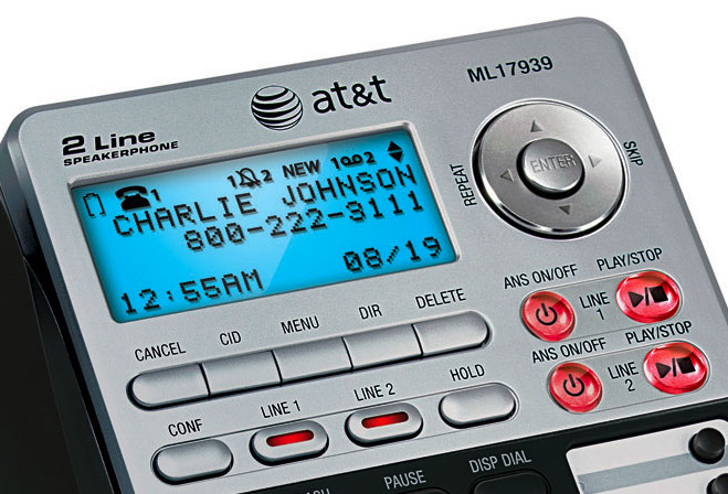 att 2 line answering machine