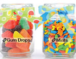 Labeled candy jars