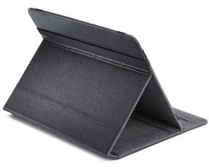 Folio cover features leather outside and microfiber inside