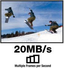20MB/s Multiple Frames per Second