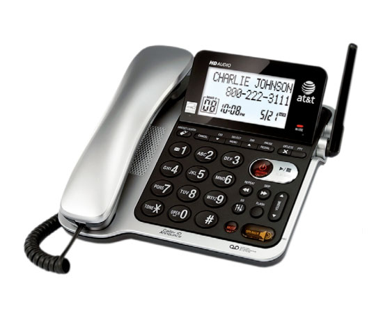 corded telephone with answering machine and caller id