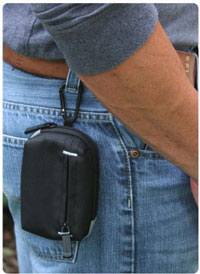 Go hands free using the carabiner clip or the belt loop strap