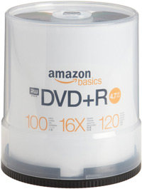 Features a fast write speed of up to 16X. Each DVD holds 4.7 GB, allowing you to record up to 2 hours of video.