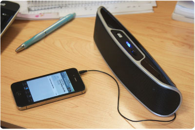 Listen wherever you go. Power with batteries or with the included USB cable.