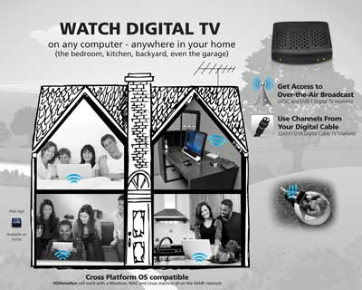 Watch digital TV anywhere in your home, on any computer