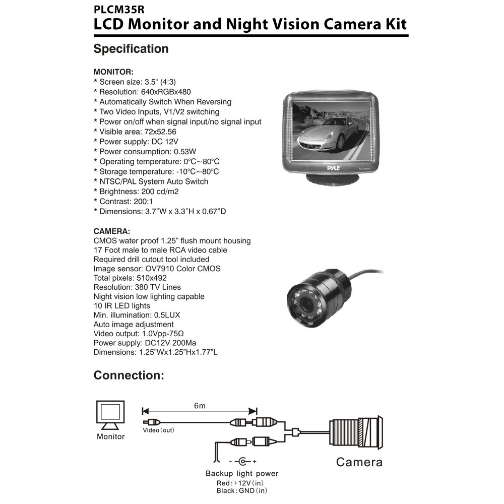 Vision Dvd Player Wiring Diagram Images Of Home Design Invision Headrest Amazon Com Pyle Plcm35r Vehicle Rearview Backup Camera U0026 Monitor System Night