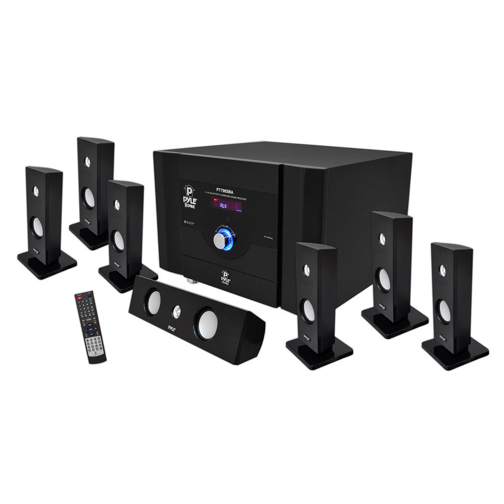Pyle pt798sba 7 1 channel home theater system with satellite speakers center - Home audio system design ...