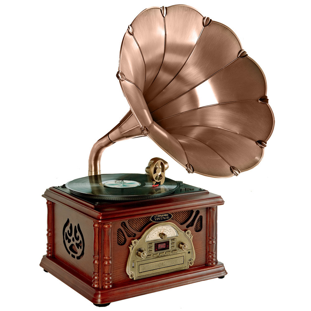 Retro Vintage Classic Style Turntable Phonograph Record Player With Horn And US 3 Recording on old fashioned portable am radio