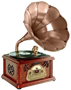 Classical Trumpet Horn Turntable/Phonograph with AM/FM Radio CD/Cassette/USB &amp; Direct to USB Recording