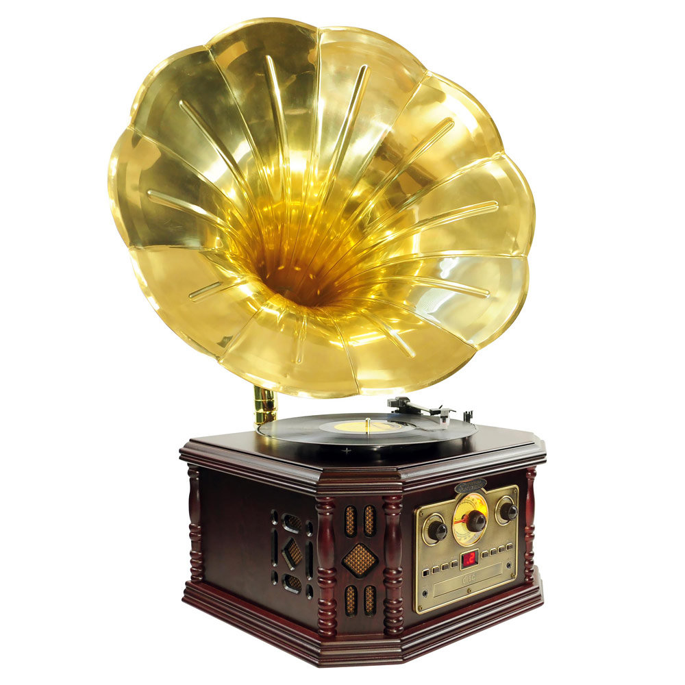 PYLE-HOME PVNP4CD Vintage Phonograph Horn Turntable with CD, Cassette