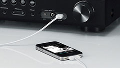 USB Digital Connection for iPod® and iPhone® on the Front Panel