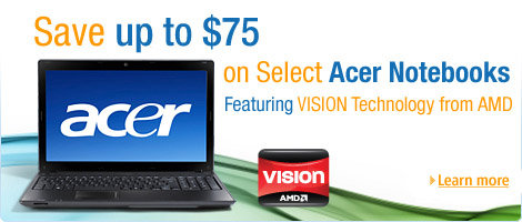 Save up to $75 on select Acer Notebooks