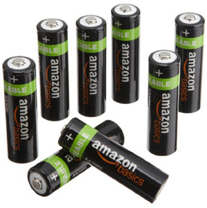 Rechargeable AA batteries by AmazonBasics