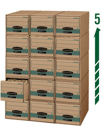 Bankers Box Steel Plus Storage Drawers stacks up to five drawers high