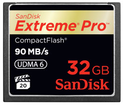 SanDisk Extreme Pro CompactFlash 32GB Memory Card