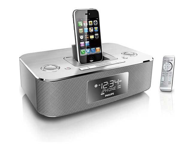 philips dc290 37 30 pin ipod iphone alarm clock speaker dock brushed aluminum ebay. Black Bedroom Furniture Sets. Home Design Ideas