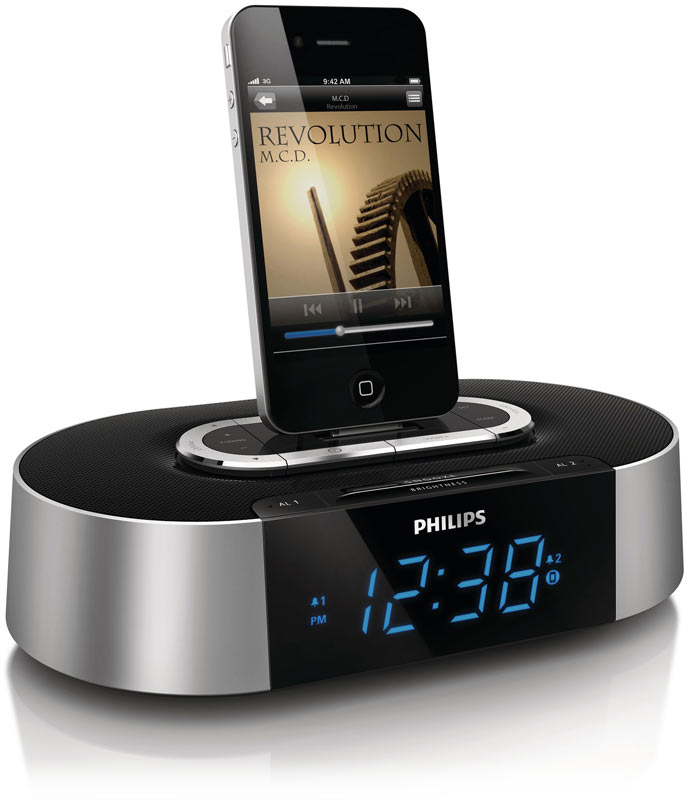 philips aj7030d 37 30 pin ipod iphone alarm clock speaker dock mp3 players. Black Bedroom Furniture Sets. Home Design Ideas
