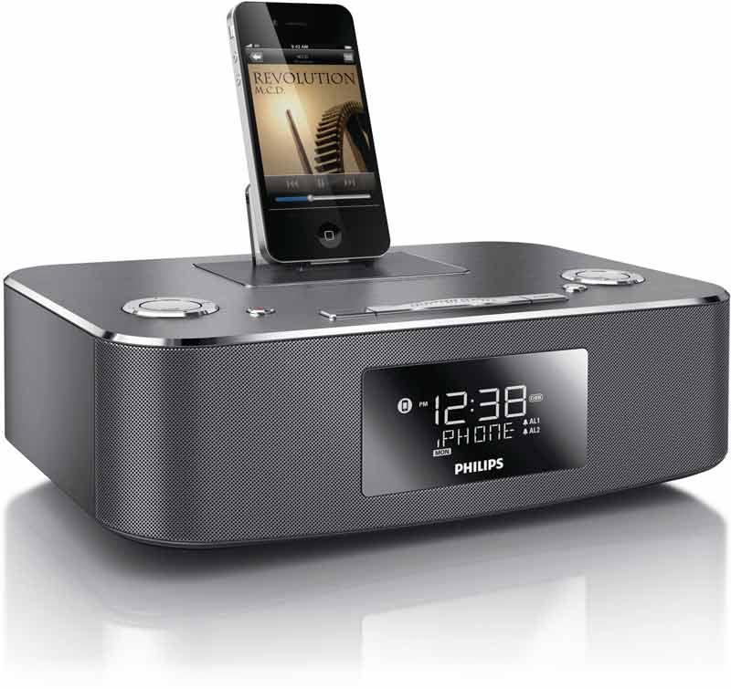 new philips ipod iphone ipad alarm clock speaker radio charger dock ihome stereo ebay. Black Bedroom Furniture Sets. Home Design Ideas