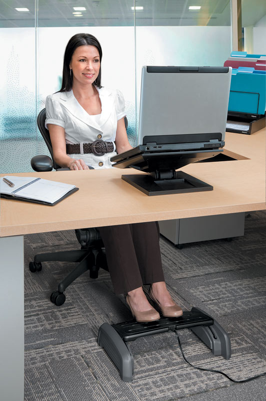 Amazon Com Fellowes Heat And Slide Footrest Black Grey