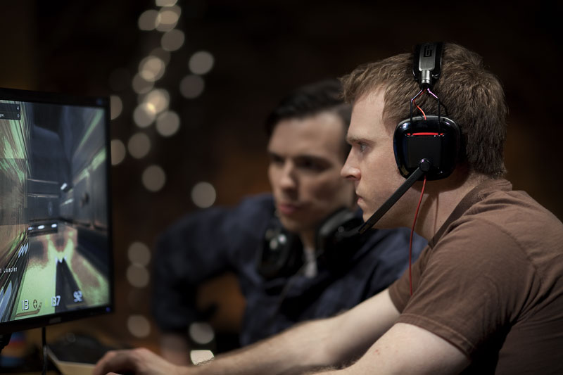 Noise-canceling microphone and on-ear controls keep you in the game.