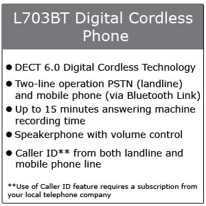 Motorola L703BT Digital Cordless Phone Call-Out Box