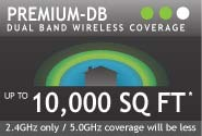 Premium-DB Dual Band Wireless Coverage Up To 10,000 SQ FT (2.4GHz only / 5.0GHz coverage will be less)