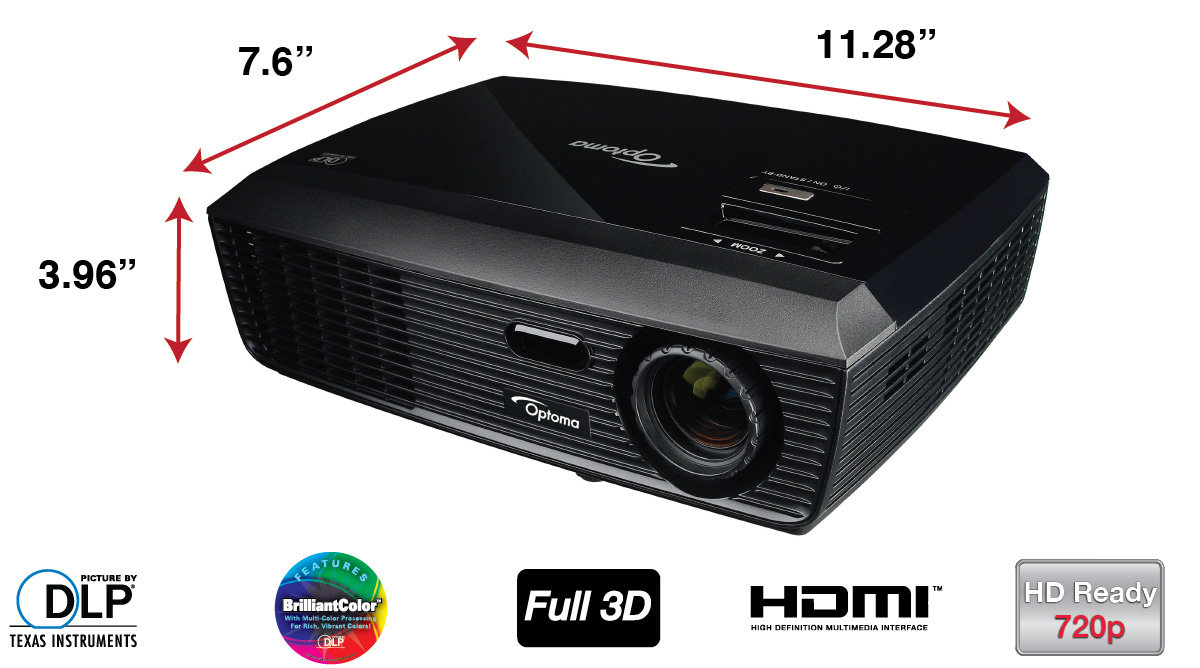 Optoma h180x 720p 3000 lumen full 3d dlp home for Hd projector amazon