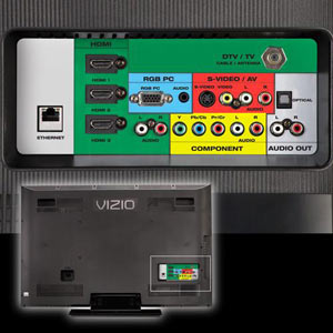 The back panel of the VIZIO SV472XVT 47-Inch LCD HDTV showing available ports and connections