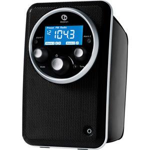 Gloss Black Boston Acoustics SOLO2B Solo II AM/FM Radio with Clock in upright position