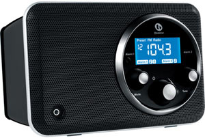 Gloss Black Boston Acoustics SOLO2B Solo II AM/FM Radio with Clock in horizontal position