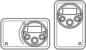 Schematic showing the rotatable control panel built into the Acoustics SOLO2B Solo II AM/FM Radio with Clock