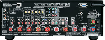 Back panel of the Onkyo HT-RC270 7.2-Channel Network A/V Receiver