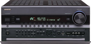 View of the Onkyo TX-NR3008 9.2-Channel Network A/V Receiver with front pop up/down control panel open