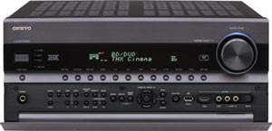 View of the Onkyo TX-NR5008 9.2-Channel Network A/V Receiver with front pop up/down control panel open