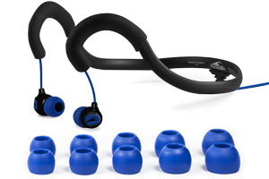 The Surge Sportwrap Waterproof Sport Headphones comes with five Earplugs providing a personalized Fit