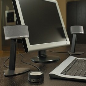 The small, elegant satellite speakers come mounted on stands for optimum performance and extra desktop space.