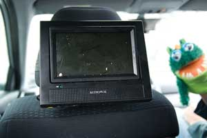 Portable tv in car